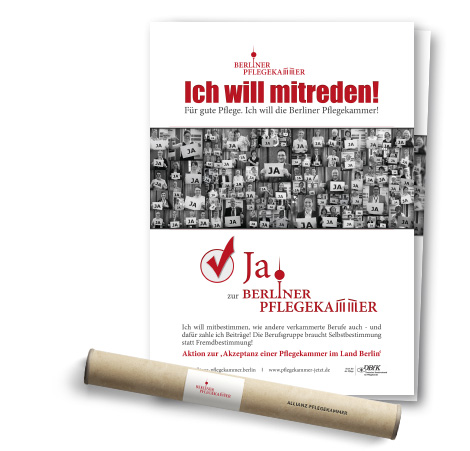 Plakat der Allianz zur Studie über die Berliner Pflegekammer