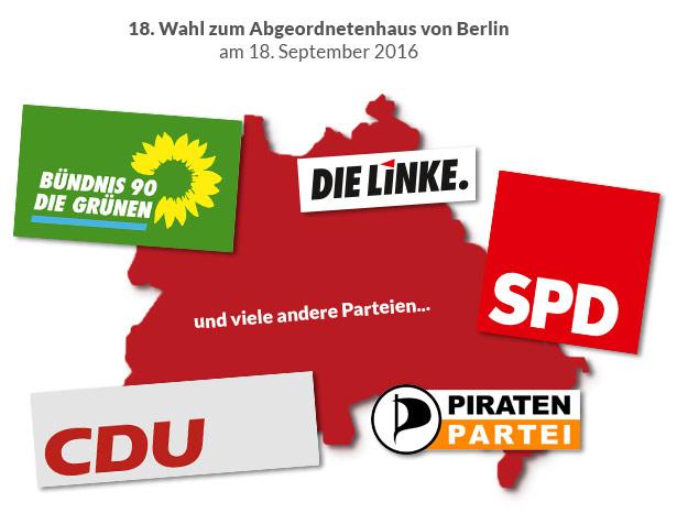 Wahl 2016 Darstellung Berlin mit Parteilogos